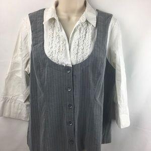 Fashion Bug 3/4 button down white and gray blouse